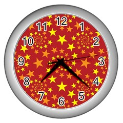 Star Stars Pattern Design Wall Clocks (silver)