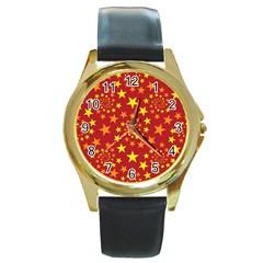 Star Stars Pattern Design Round Gold Metal Watch