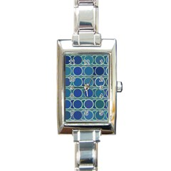 Circles Abstract Blue Pattern Rectangle Italian Charm Watch