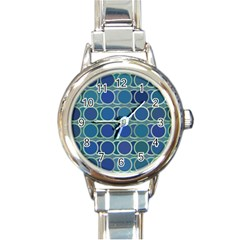 Circles Abstract Blue Pattern Round Italian Charm Watch