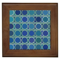 Circles Abstract Blue Pattern Framed Tiles