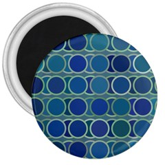 Circles Abstract Blue Pattern 3  Magnets