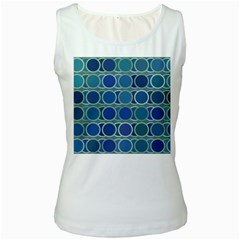 Circles Abstract Blue Pattern Women s White Tank Top