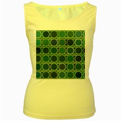 Circles Abstract Blue Pattern Women s Yellow Tank Top