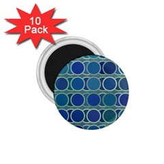Circles Abstract Blue Pattern 1.75  Magnets (10 pack)