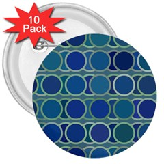 Circles Abstract Blue Pattern 3  Buttons (10 pack)