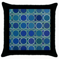 Circles Abstract Blue Pattern Throw Pillow Case (Black)