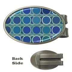 Circles Abstract Blue Pattern Money Clips (Oval)