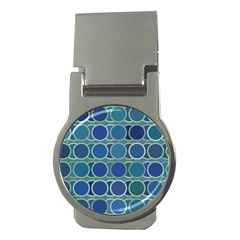 Circles Abstract Blue Pattern Money Clips (Round)