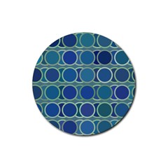 Circles Abstract Blue Pattern Rubber Coaster (Round)