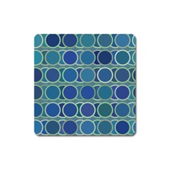 Circles Abstract Blue Pattern Square Magnet