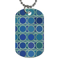 Circles Abstract Blue Pattern Dog Tag (Two Sides)