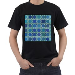 Circles Abstract Blue Pattern Men s T-Shirt (Black) (Two Sided)