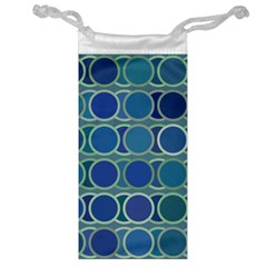 Circles Abstract Blue Pattern Jewelry Bag