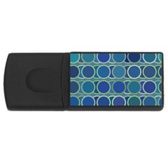 Circles Abstract Blue Pattern Usb Flash Drive Rectangular (4 Gb)