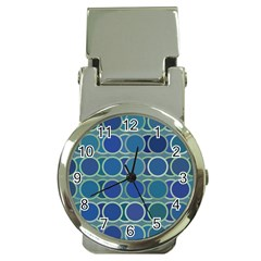 Circles Abstract Blue Pattern Money Clip Watches