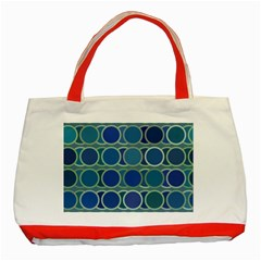 Circles Abstract Blue Pattern Classic Tote Bag (Red)