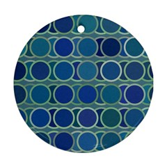 Circles Abstract Blue Pattern Round Ornament (Two Sides)