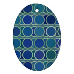 Circles Abstract Blue Pattern Oval Ornament (two Sides)
