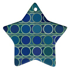 Circles Abstract Blue Pattern Star Ornament (Two Sides)