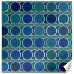 Circles Abstract Blue Pattern Canvas 20  x 20