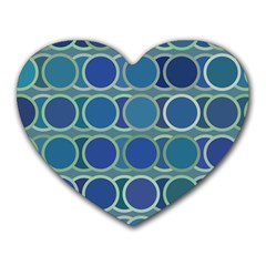 Circles Abstract Blue Pattern Heart Mousepads
