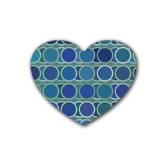 Circles Abstract Blue Pattern Rubber Coaster (Heart)