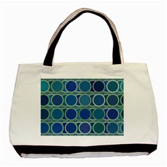 Circles Abstract Blue Pattern Basic Tote Bag (Two Sides)