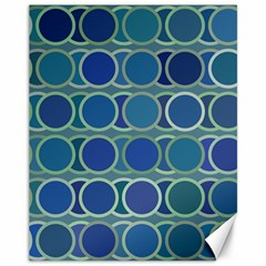 Circles Abstract Blue Pattern Canvas 11  x 14