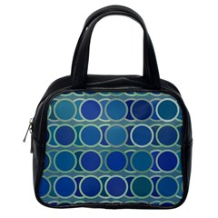 Circles Abstract Blue Pattern Classic Handbags (One Side)