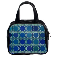 Circles Abstract Blue Pattern Classic Handbags (2 Sides)