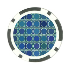 Circles Abstract Blue Pattern Poker Chip Card Guard (10 pack)