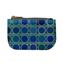 Circles Abstract Blue Pattern Mini Coin Purses