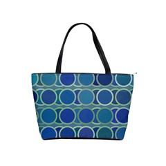 Circles Abstract Blue Pattern Shoulder Handbags