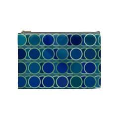 Circles Abstract Blue Pattern Cosmetic Bag (Medium)
