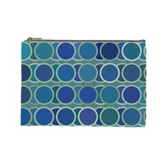 Circles Abstract Blue Pattern Cosmetic Bag (Large)