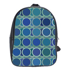 Circles Abstract Blue Pattern School Bags(large)