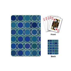 Circles Abstract Blue Pattern Playing Cards (Mini)