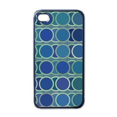 Circles Abstract Blue Pattern Apple iPhone 4 Case (Black)