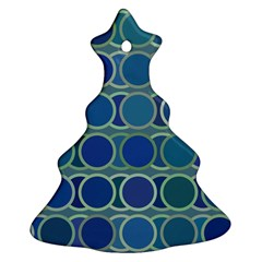 Circles Abstract Blue Pattern Ornament (Christmas Tree)