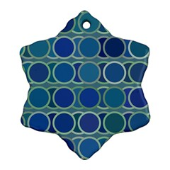 Circles Abstract Blue Pattern Snowflake Ornament (Two Sides)