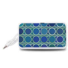 Circles Abstract Blue Pattern Portable Speaker (White)