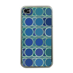 Circles Abstract Blue Pattern Apple iPhone 4 Case (Clear)
