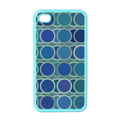 Circles Abstract Blue Pattern Apple iPhone 4 Case (Color)