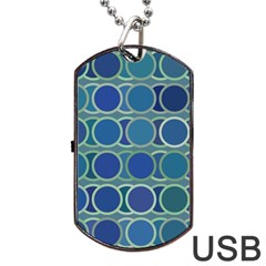 Circles Abstract Blue Pattern Dog Tag USB Flash (One Side)