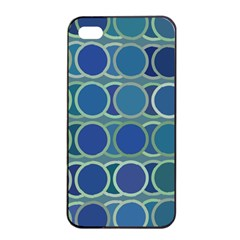 Circles Abstract Blue Pattern Apple Iphone 4/4s Seamless Case (black)
