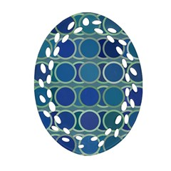 Circles Abstract Blue Pattern Ornament (Oval Filigree)