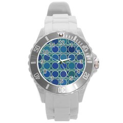 Circles Abstract Blue Pattern Round Plastic Sport Watch (l)