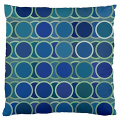 Circles Abstract Blue Pattern Large Cushion Case (One Side)