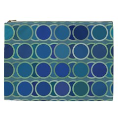 Circles Abstract Blue Pattern Cosmetic Bag (xxl)
